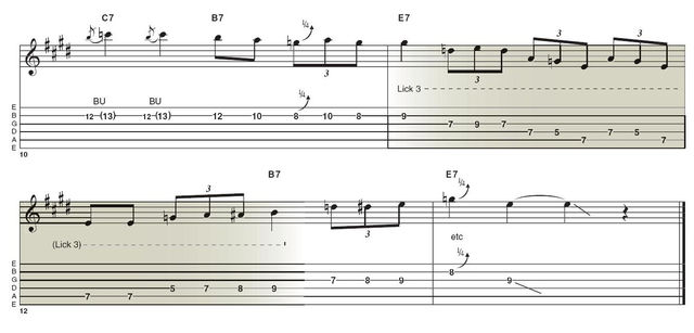 Lick 3: This is a typical minor pentatonic move you'll find in a lot of Clapton's playing. While it could be used as something of a 'filler' lick, it's so Clapton that we've highlighted it. It also pinpoints the underlying chords nicely.