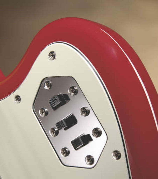 The huge variety of tonal options is down to the Jaguar's active/passive electronics and multitude of switches