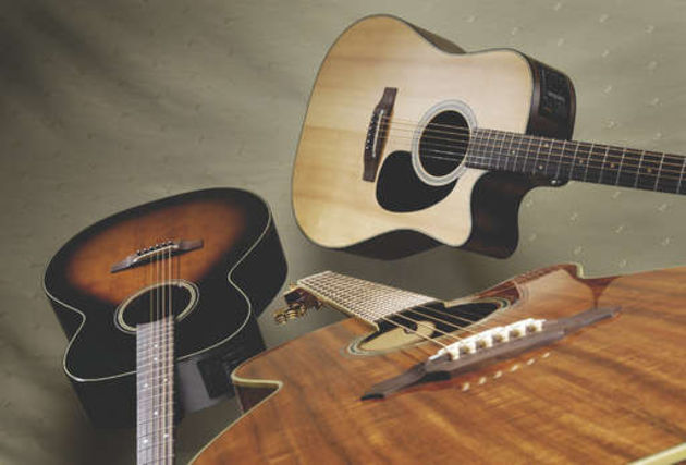 Takamine's EF340SCO (right), EF444S-TBS (left) and EF508KC (centre)