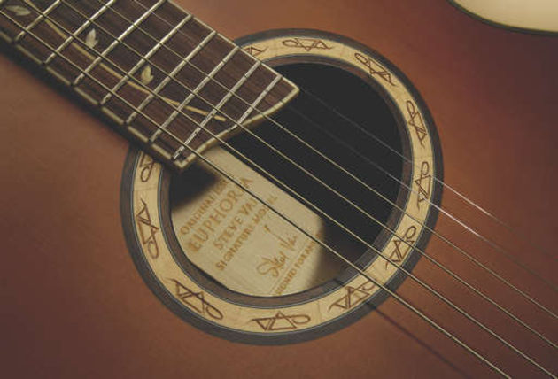 The EP9's wooden soundhole rosette