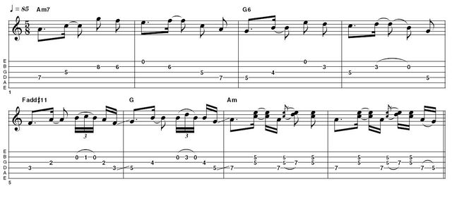 Ex1:  5/8 time signature - The first example here is inspired by Sting's uses of odd time signatures on Ten Summoner's Tales. It emphasises the flavour of 5/8; once you've got used to the feel see what you can come up with on your own.