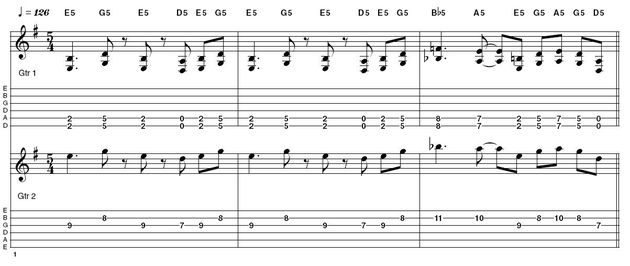 Ex2:  5/4 time signature - Example 2 has a Soundgarden grunge vibe to it with the drum pattern emphasising the five beats in a bar of 5/4. In addition to the odd time signature, the riff repeats using a three bar phrase adding to the overall quirky feel. Kim Thayil would often double the main riff with a single note line an octave higher as in a second guitar part.