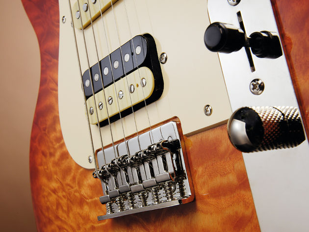 The Bluesmaster IV is more Gibson inspired, despite the Tele-style control plate