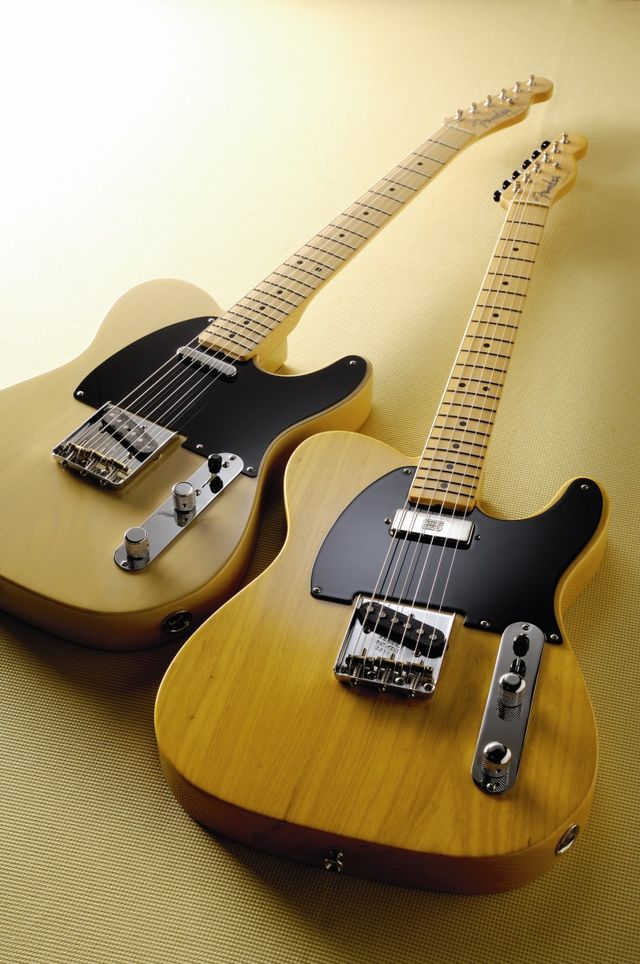 The Baja Telecaster (left) alongside a Hot Rod American Vintage model
