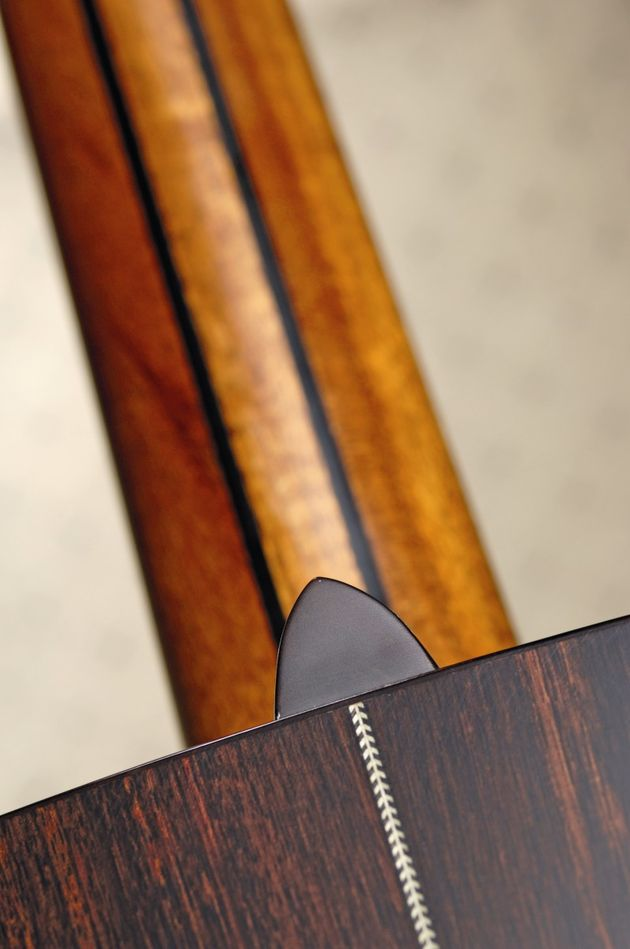 The three-piece laminate neck is nicely ingrained with ebony