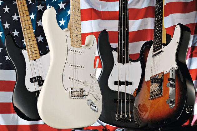 The Jazz Bass (centre right) is part of a new American Standard range that's aiming for simple, quality instruments