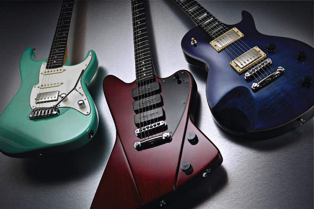 Fret-King's new range with the Super 60HB (far left).