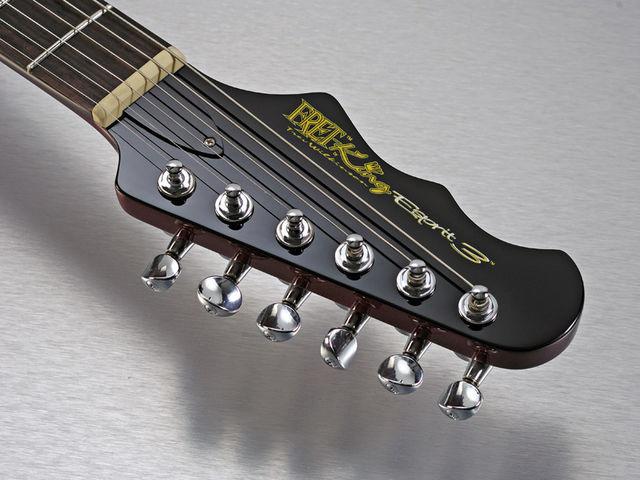 The reverse headstock recalls Epiphone's 'batwing' design