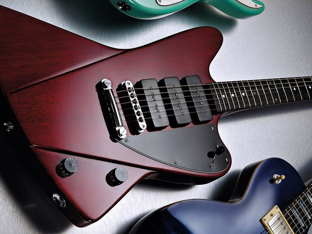 The body stylings are part Jazzmaster, part Explorer, with a hint of Firebird