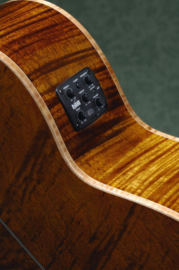 Flamed mahogany with maple binding make for a striking, upmarket look.