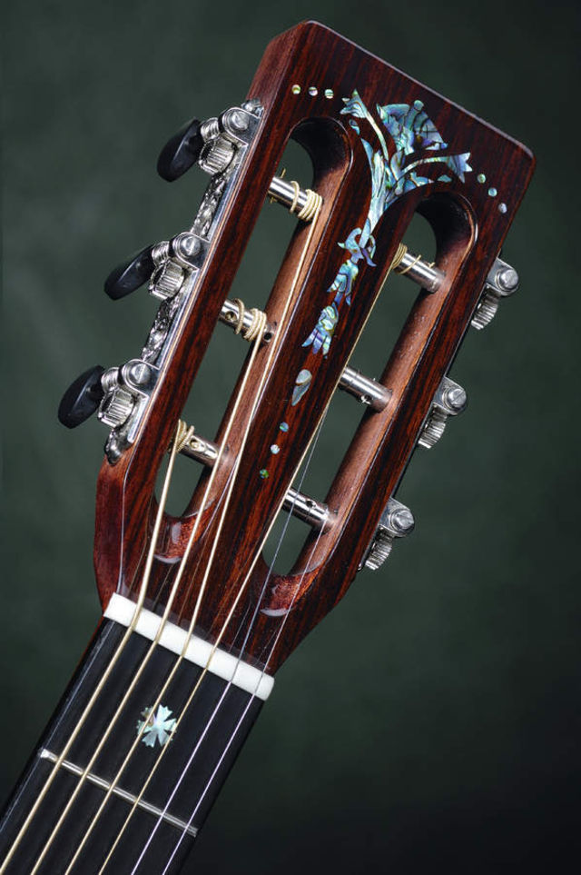 Abalone adorns the Little Wing's headstock and fretboard.