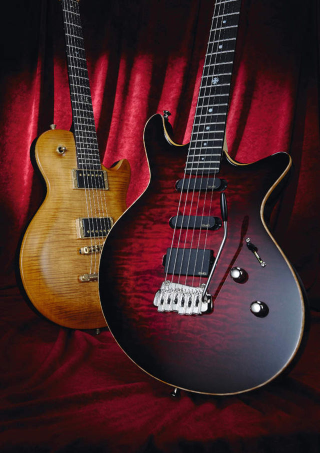 Lag's Imperator (left) and Jet (right) guitars.