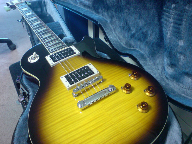 The Epiphone Slash Les Paul in its smart hard case