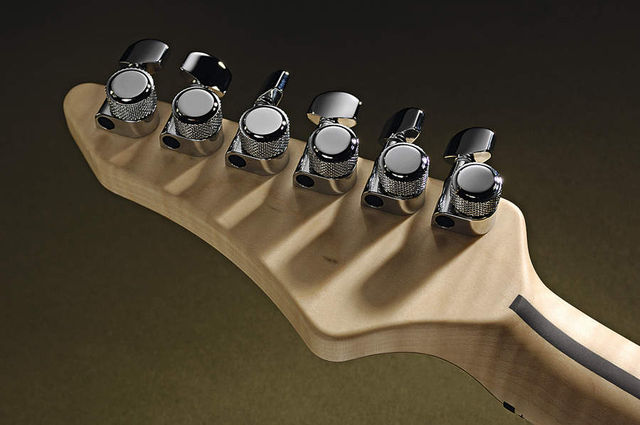 The headstock is fitted with rear-locking Schaller tuners.