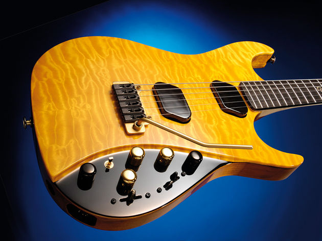 A quilted maple-topped beauty like this would be costly even without the Moog circuitry
