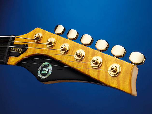 The headstock has echoes of the Parker Fly