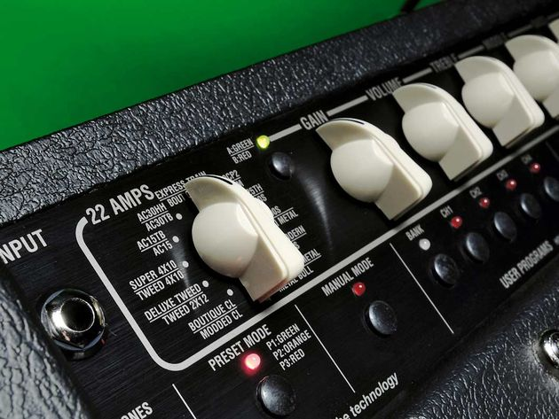 The expanded range of amp models is dealt with by including a seperate red/green button alongside the rotary knob