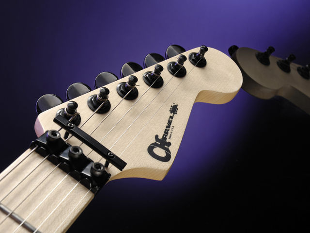 The distinctive Charvel headstock decal: simple and appealing