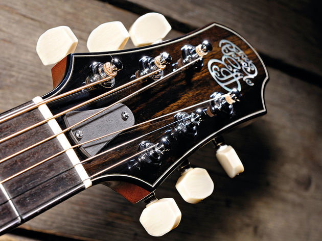 Ivoroid buttons finish off the Skyland's chrome Gotoh tuners