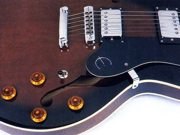 The Dot features two Epiphone-designed Korean humbuckers