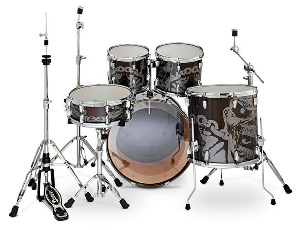 Power depth toms are mounted directly to the Roklok bass drum mount.