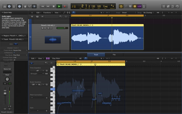 Flex Pitch overlays the notes of the selected clip in a piano roll on top of the waveform.