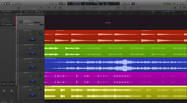 A Folder Stack brings multiple tracks together for combined tweaking.