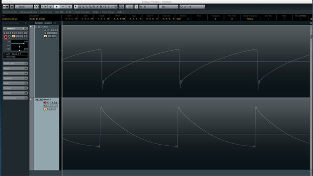 Here are the raw sawtooth waveforms of both the real Minimoog and the iMini. As you can see, they are almost identical, save for the fact that they are inverted! Fortunately, that doesn't affect the sound.