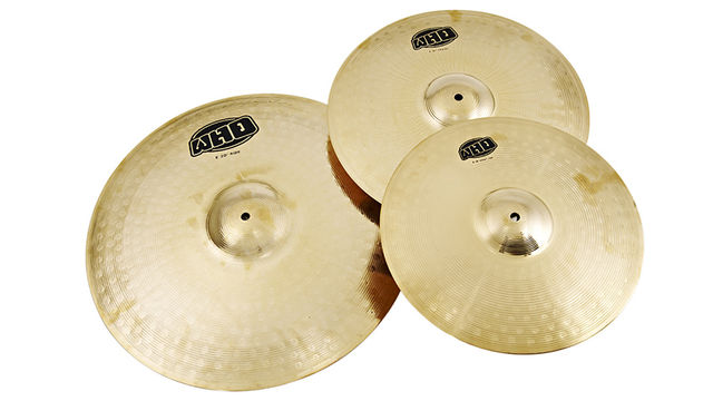 "The pack includes a set of 14"" hi-hats, a 16"" crash and a 20"" ride."