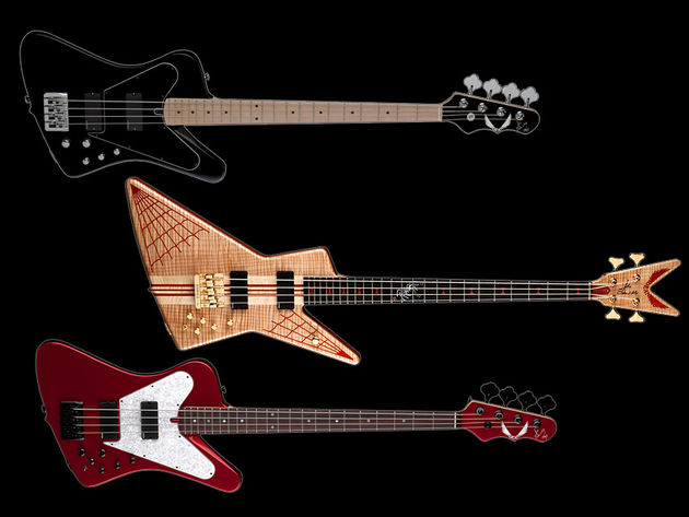 Dean's John Entwistle signature line (from top), the Hybrid, the USA Spider and the USA Hybrid