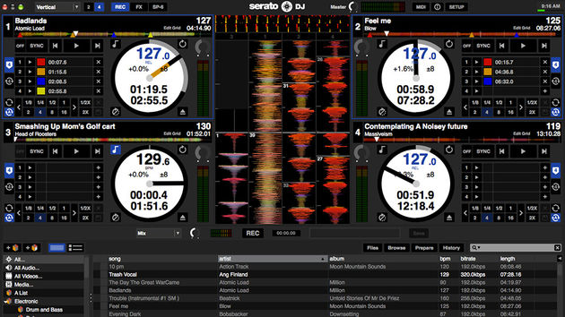Serato DJ: four deck view with record