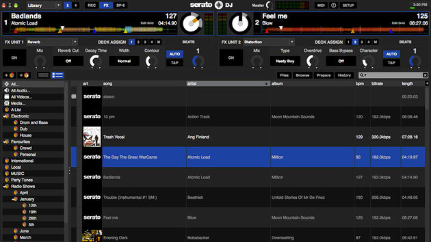Serato DJ: two deck library view