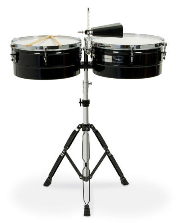 "The 14"" and 15"" timbales feature a gloss black finish and stainless steel shells"
