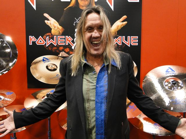 Is Nicko McBrain excited about his new Paiste Boomer cymbals? Hard to tell, isn't it?