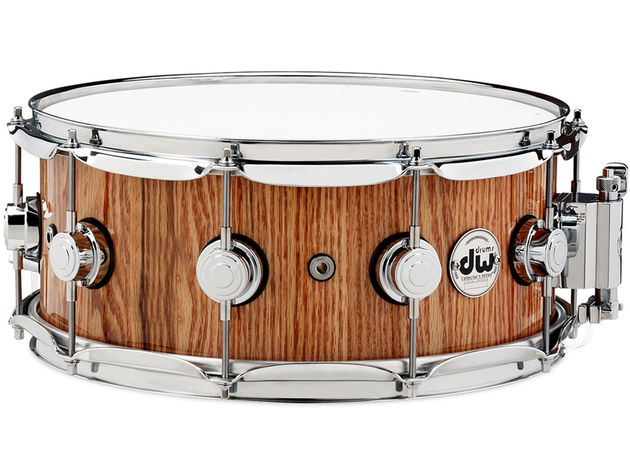 DW Solid Stave snare in red oak with natural lacquer ($999)