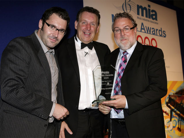 From left to right: MusicRadar's Editor-In-Chief Mike Goldsmith, MIA President Jon Gold and Korg Managing Director Rob Castle