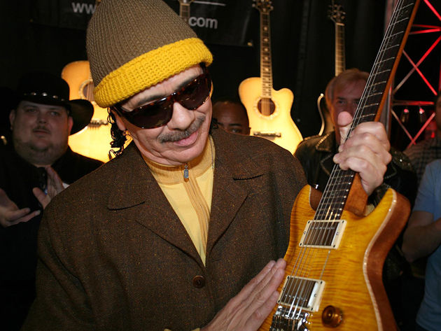 Carlos Santana at NAMM 2008 with his new signature model