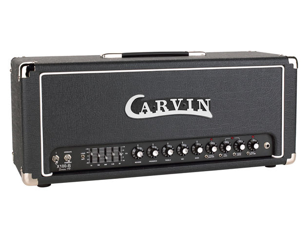 The new X-100B reissue retains the old Carvin logo