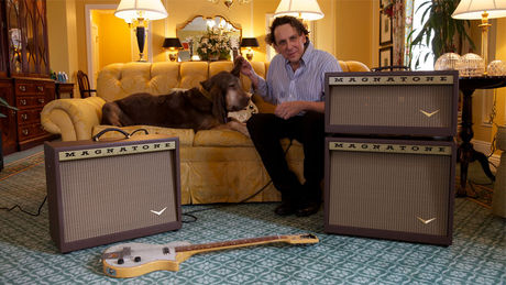 CEO Ted Kornblum with Magnatone Amps and guitars