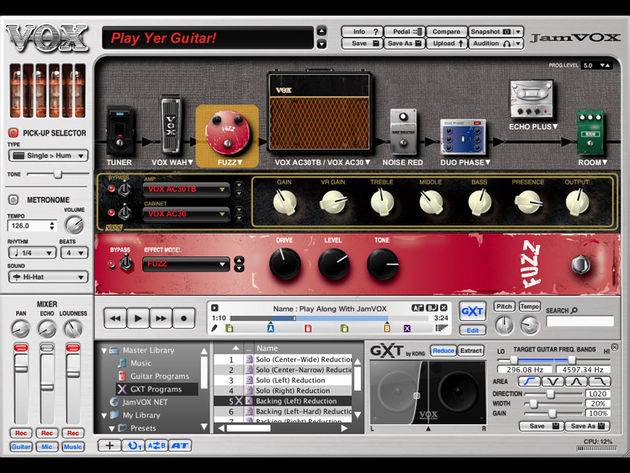 The JamVOX software has an intuitive front end