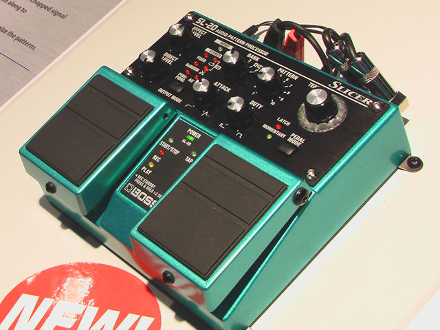 Boss's new Slicer pedal on display at the Frankfurt Musikmesse