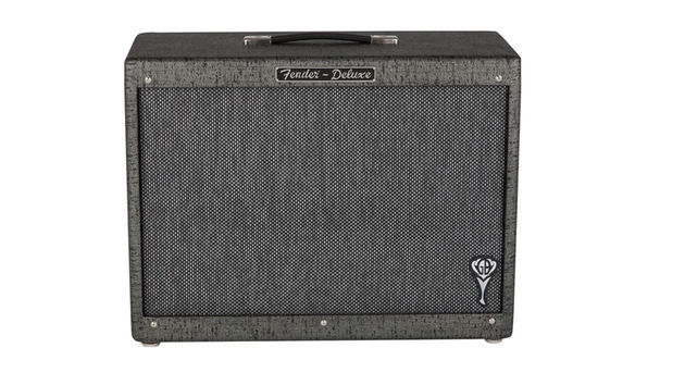 The GB Hot Rod Deluxe 112 Enclosure meanwhile is a closed back cab, also with silver-strange grille cloth and GB logo badge