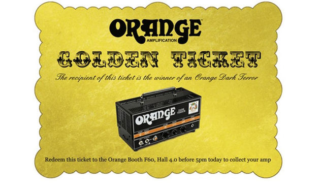 Get a golden ticket like the one above in your Orange Musikmesse goodie bag and a Dark Terror head could be yours!