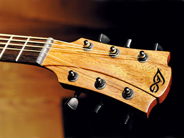 The interesting headstock design is borrowed from the Lag Imperator.