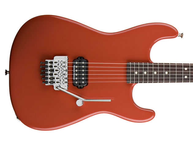 "The ""wild card"": a San Dimas Style 1 in Fiesta Red with, for the first time, a rosewood fingerboard."