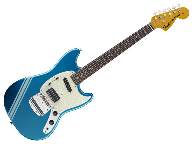 The Kurt Cobain Mustang, in Dark Lake Placid Blue with competition stripe