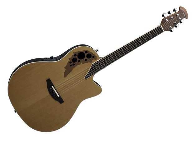 The Ovation 1778TX-4CS Elite TX has a dark walnut soundhole epaulette.