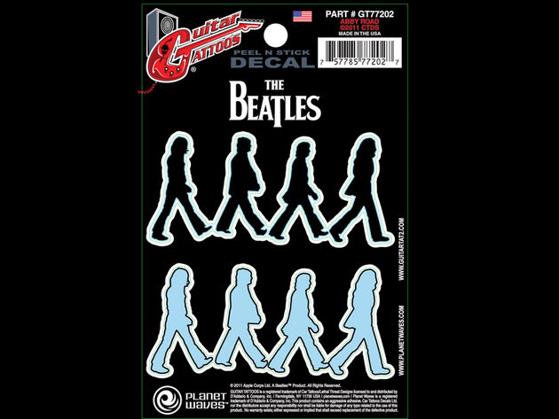 """Two tattoos in one, get each Beatle walking across Abbey Road in both black and light blue."""