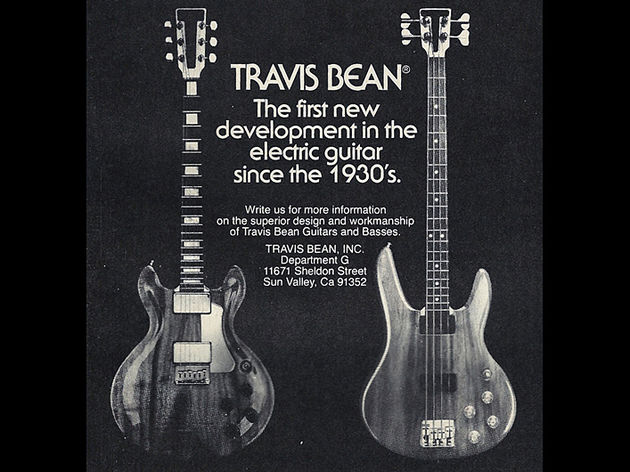 1970s Travis Bean ad featuring a TB1000A and TB2000