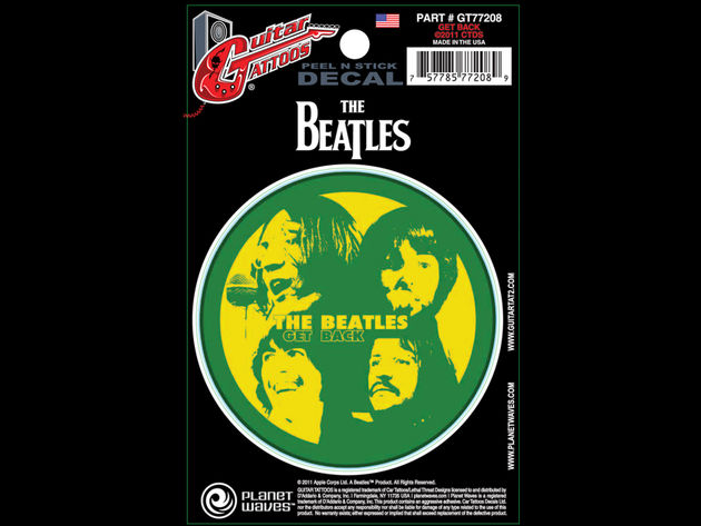 """Displaying the faces of each legendary Beatle, this vibrant decal is sure to stand out on any guitar!"""